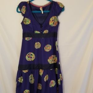 Maeve dress 100% silk Blue floral polka dot  Sz 0